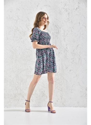 Rodi Jeans Kadın Çiçekli Kısa Elbise Rd21Yb117550 Yeşil